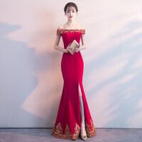 结婚礼服女新娘敬酒服夏季2018新款鱼尾修身长款性感一字肩晚礼服