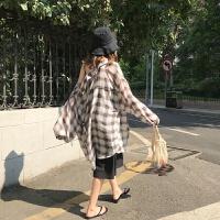 夏季韩国 复古宽松雪纺格子中长款长袖防晒衣女薄款衬衫潮上衣 均码