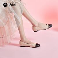 jm快乐玛丽2021春夏新款浅口休闲女韩版一脚蹬平底低跟小香风单鞋