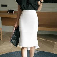白色包臀裙鱼尾半身裙夏季女新款裙子高腰半身裙燕尾一步裙中长款 X