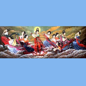 我国当代非常有名的青年油画艺术家张嘉应(巨幅飞天)2
