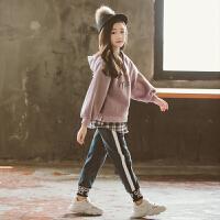 女童秋冬装2018新款韩版时尚洋气儿童加厚卫衣时髦套装两件套潮衣