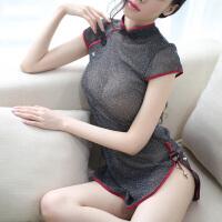 中国风情趣睡裙制服诱惑性感睡衣透视紧身旗袍套装 闪亮黑(旗袍+丁字裤)