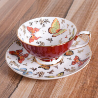 骨瓷茶杯咖啡杯描金金色蝴蝶茶具套装礼品