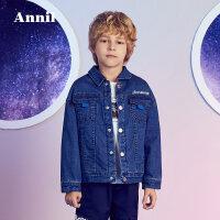 【3件3折折后价:170.7】安奈儿童装男童牛仔外套冬季新款保暖毛绒中大童上衣