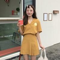 洋气衬衫女设计感小众夏季花朵刺绣西装领短袖衬衣+百褶半身裙