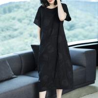 大码女装连衣裙女夏韩版名媛女装气质长裙时尚中长款宽松黑色裙子 黑色