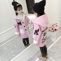 女童毛呢外套冬装2018新款韩版洋气童装儿童小女孩秋冬羊羔绒大衣