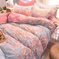 �艚嗉曳纳坛⊥�款6雕花珊瑚绒四件套冬季加厚水晶绒床单被套法兰绒床上用品