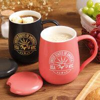 欧式咖啡杯子带盖带勺大容量情侣杯创意水杯简约牛奶杯