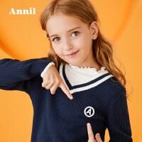 【3件3折:80.7】安奈儿童装女童针织衫冬季新款毛衫大童简约撞色V领百搭毛衣
