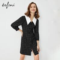 伊芙丽连衣裙2020新款春装女黑色宫廷风羊腿袖法式V领格子衬衫裙
