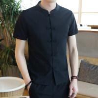 夏季亚麻衬衫男短袖中国风套装上衣唐装两件套修身麻五分袖衬衣涂