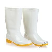 男女中高筒食品卫生靴白色雨鞋雨靴防滑套水鞋靴 白色卫生食品雨鞋