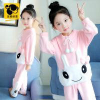 童装女童睡衣新款冬季儿童法兰绒套装亲子装中大童家居服