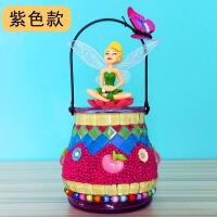 彩瓶幼��@�和��@石��手工diy制作材料包花瓶玩具女孩作品家居子互�尤の��意玩具 紫色款diy天使彩瓶