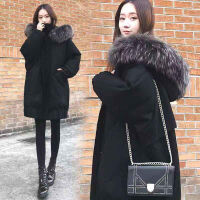 大码女装200斤冬季外套女学生韩版网红加厚中长款学生宽松女 黑色 S 100斤以下