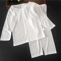 婴儿睡衣薄款宝宝内衣套装夏季竹纤维儿童空调服男童女童 白色 80cm