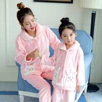 儿童睡衣女秋冬季法兰绒女童中大童珊瑚绒加厚宝宝亲子家居服套装