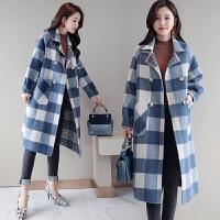 格子毛呢外套女中长款韩版2018新款秋冬季流行赫本风双面呢子大衣