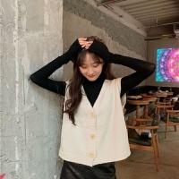 秋冬韩版学院风纯色高领打底衫女针织马甲女背心小开衫两件套
