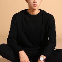 秋季毛衣男士韩版宽松潮流连帽针织衫线衣学生个性长袖毛衫男外套