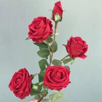 仿真花束真 6头高枝落地大仿真玫瑰花假花 婚庆客厅花束高花瓶长枝装饰Q