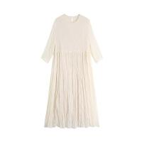 白色吊带连衣裙夏小清新超仙甜美复古过膝雪纺中长款裙子女 奶白色 连衣裙