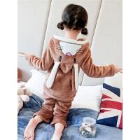 女童珊瑚绒睡衣秋冬季儿童法兰绒家居服套装小女孩宝宝加厚款