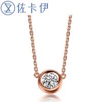 佐卡伊时尚简约款波点钻石项链吊坠三色可选气质锁骨链