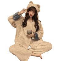 秋冬女装韩版可爱撞色卡通毛绒睡衣加厚保暖睡裤两件套家居服套装 奶油杏 均码