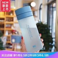塑料有刻度水杯大容量水�乇�y防漏男女士杯子�Р韪暨^�V�W600ml 深�{色 磨砂�{色600ML