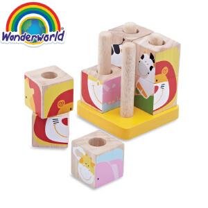[当当自营]泰国Wonderworld 动物立方 大块拼插积木 益智玩具 实木材质