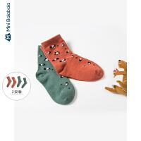 【限时1件6折 2件5.5折】迷你巴拉巴拉儿童袜子女童豹纹短袜2019年秋装新款两双装男童袜