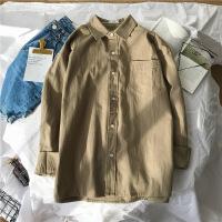 奥色春季男士韩版潮流衬衫休闲学生情侣纯色小清新打底外套