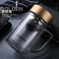 品牌双层玻璃杯家用大容量带把手水杯子男女办公过滤耐热茶杯商务