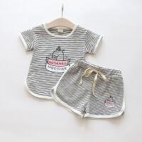 女童短袖运动套装儿童条纹短袖T恤+短裤两件套2018夏 灰色 7(建议身高95cm)