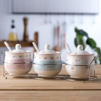 陶瓷调料盒调味罐套装家用组合装调味盒瓶盐罐三件套厨房用品简约