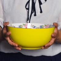 陶瓷碗创意家用餐具套装碗盘欧式金边高脚碗骨瓷吃饭碗碟组合