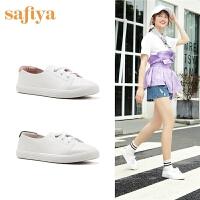 【3折再减80】Safiya/索菲娅春夏新款小白鞋浅口平底简约单鞋女SF93112011