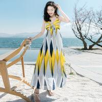 【好货推荐】 2019夏季新款女装吊带裙子打底雪纺法式连衣裙气质长裙显瘦沙滩裙 图片色 XZ18A967