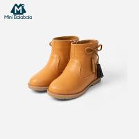 【3折价:81】迷你巴拉巴拉儿童鞋子女童加绒保暖靴子2019冬新款童鞋马丁靴短靴