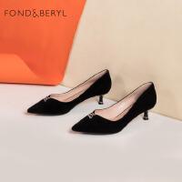 Fondberyl/菲伯丽尔春季专柜同款尖头优雅浅口猫跟单鞋FB01111030
