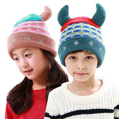 kk树秋冬男女儿童帽子冬小孩帽子2-4-8岁毛线帽潮冬女童帽子