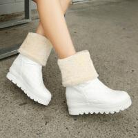 彼艾2017秋冬新款靴子防水PU雪地靴内增高中筒靴厚底中靴加厚保暖棉靴舒适透气保暖毛毛女靴