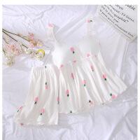 睡衣女夏吊带纯棉两件套韩版甜美可爱小清新宽松学生套装家居服薄