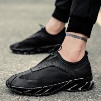 男鞋秋季新款跑步鞋全黑透气运动休闲帆布鞋一脚蹬懒人鞋子男