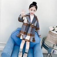 儿童外套秋冬2018新款呢子韩版中大童格子毛呢大衣女孩