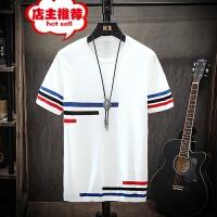 夏季男士冰丝针织圆领短袖条纹毛衣韩版潮流修身个性拼色半袖毛衫