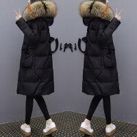 羽绒服女中长款2019冬装季女装宽松过膝大毛领羽绒服外套